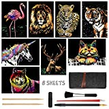 Scratch Art for Kids & Adults, Rainbow Painting Night View Scratchboard(A4), Crafts Set: 8 Sheets Scratch...