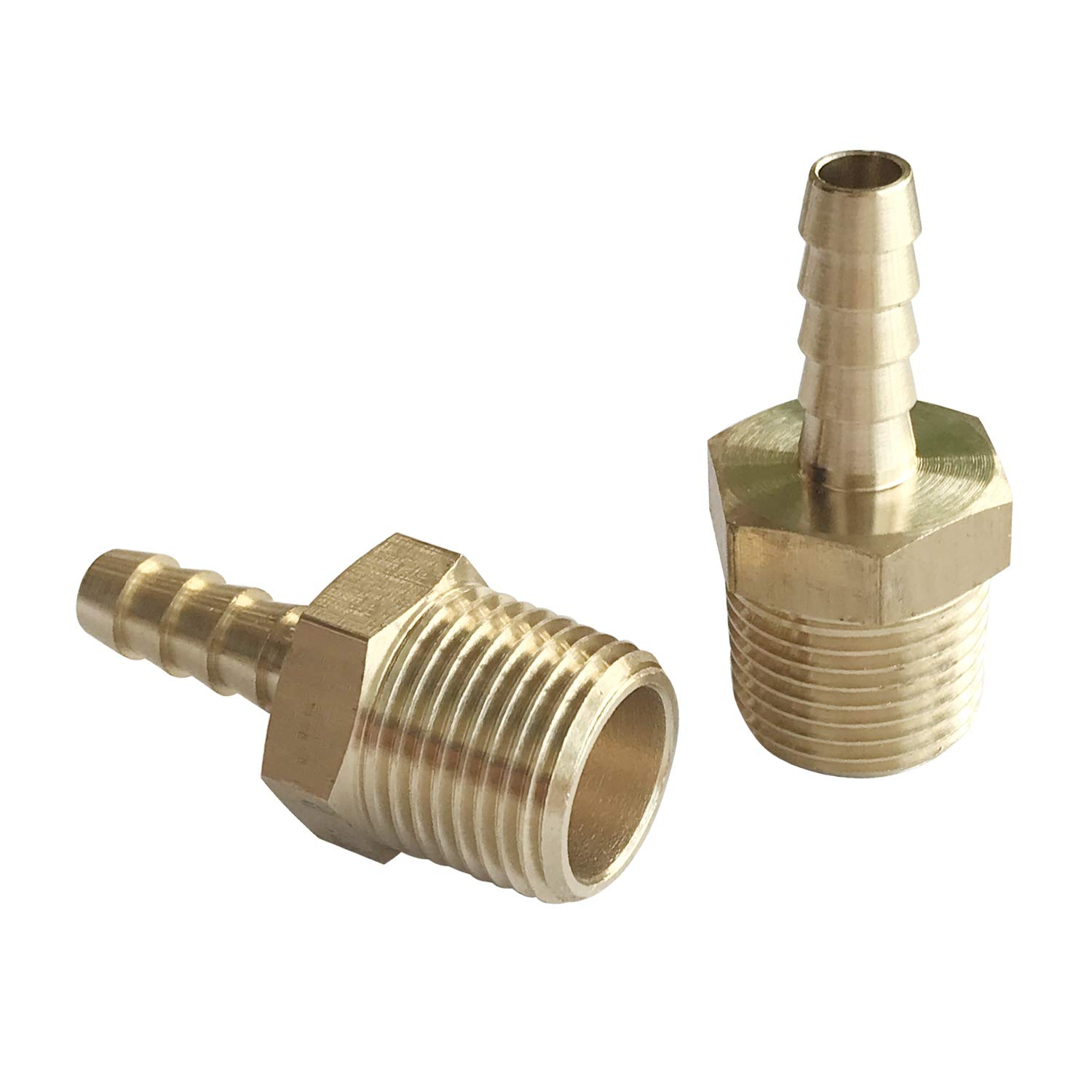 YUEPIN 2 Pack Barb Hose Fitting Brass Pipe Fitting Connector Fuel Gas Water 5//16 Barb x 1//2 NPT Male