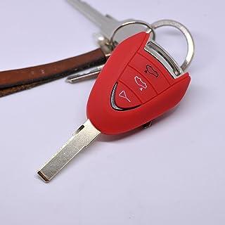 Soft Case Schutz Hülle Auto Schlüssel für Porsche 911 997 987 Boxster Cayman Funkschlüssel Remote/Farbe: Rot