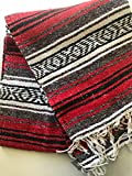 Mexitems Mexican Falsa Blanket Authentic 52' X 72' Pick Your Own Color (Red/Grey/Black)