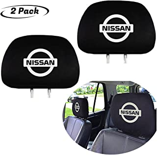 Luxury Black Fabric Headrest Cover for Nissan, Set of 2 Washable Head Rest Cover for Cars or Trucks (Nissan)
