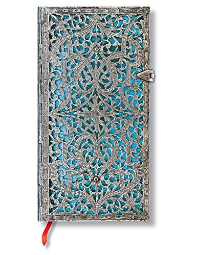 Silberfiligran Kollektion Maya Blau - Notizbuch Schlank Liniert - Paperblanks
