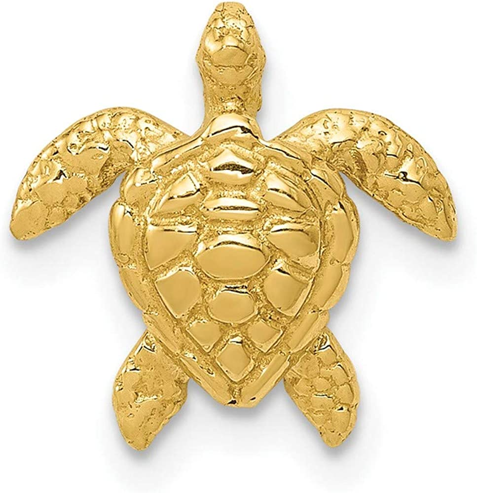 14k online shopping Yellow Gold Small Sea Turtle Necklace Slide 25% OFF Pendant Ch Chain