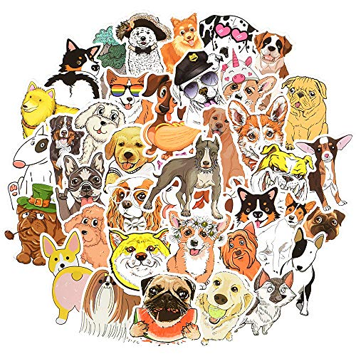 QTL Dog Stickers for Kids Puppy Stickers Vinyl Dog Stickers for Water Bottle Cute Dog Stickers for Laptop Waterproof Stickers for Teens Girls 50Pcs