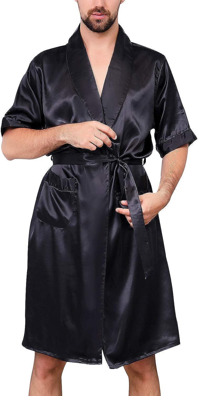 Lu's Chic Men's Satin Kimono 5% OFF Robe Bath Summer Silk Popular popular Short Sleeves