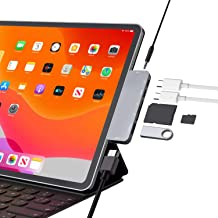 USB C Hub for iPad Pro 11/12.9 2019/2018 Adapter,7-in-1 Dongle with Aux 3.5mm & Type-C Earphone Headphone Data Jack with Audio Volume Control,4K HDMI,USB 3.0, SD,Micro SD Card Reader,USB C PD Charging