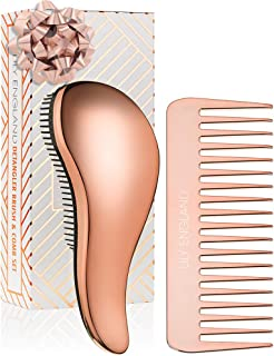 Lily England Detangling Hairbrush and Comb Set - Detangler Brush for Wet, Dry, Curly, Women & Kids Hair with Wide Tooth Co...