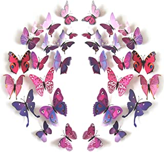 JYPHM 24PCS Butterfly Wall Decal Removable Refrigerator Magnets Mural Stickers 3D Wall Stickers for Kids Home Room Nursery Decoration Wall Art Purple