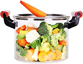 5.3 Quart Glass Pot with Lid, 5L Glass Saucepan with Cover for Cooking, Heat Resistant Borosilicate Glass Cookware for Sto...