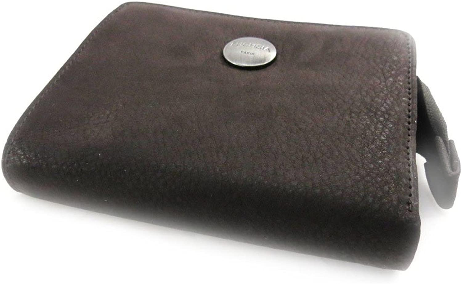 Wallet card holder leather 'Fuchsia' brown vintage.