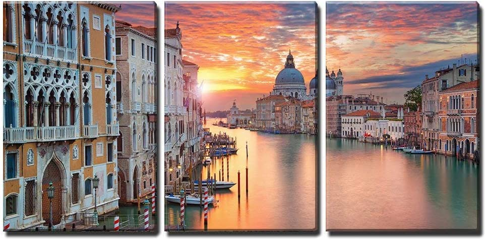 wall26 - 3 Piece Canvas Wall Art - Venice. Image of Grand Canal in Venice, with Santa Maria Della Salute Basilica - Modern Home Art Stretched and Framed Ready to Hang - 24