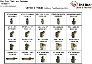 """Grease Fittings (Ball Check - Plated Standard and Metric) Large 20 Hole Metal Drawer Assortment (18""""w x 12""""d x 3""""h)"""