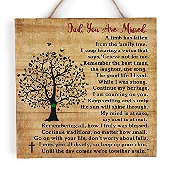 kullder Dad Remembrance Wood Plaque for Daughter Loss of Dad Sympathy Wood Sign Father Memorial Wood for Son Memorial Sign for Loss of Father Dad Loss Memory Wooden Sign for Loss of Dad  8  X8
