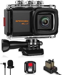 Apexcam M80 EIS アクションカメラ 4K高画質 2000万画素 40M防水水中カメラ 手振れ補正 170度広角レンズ WiFi搭載 外部マイク 高品質1050mAh充電式バッテリー2個[メーカー1年保証] 2インチ液晶画面 バイク/自転車/カート/車に取り付け可能 アクセサリーセット付き スポーツカメラ ウェアラブルカメラ 防犯カメラ
