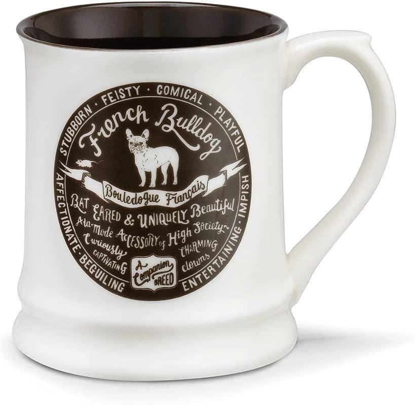 French Bulldog Cream And Black 16 Ounce Glossy Stoneware Mug With Handle