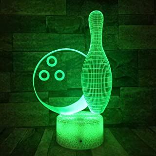 Bowling 3D Led Veilleuses 7 Couleurs 3D Lampe De Table Accessoires Enfants Décor À La Maison Blanc Fissure/Base Bluetooth