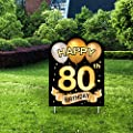 Yangmics Direct 80th Birthday 1940 - Outdoor Lawn Sign - Yard Sign - 1 Piece -Black Gold
