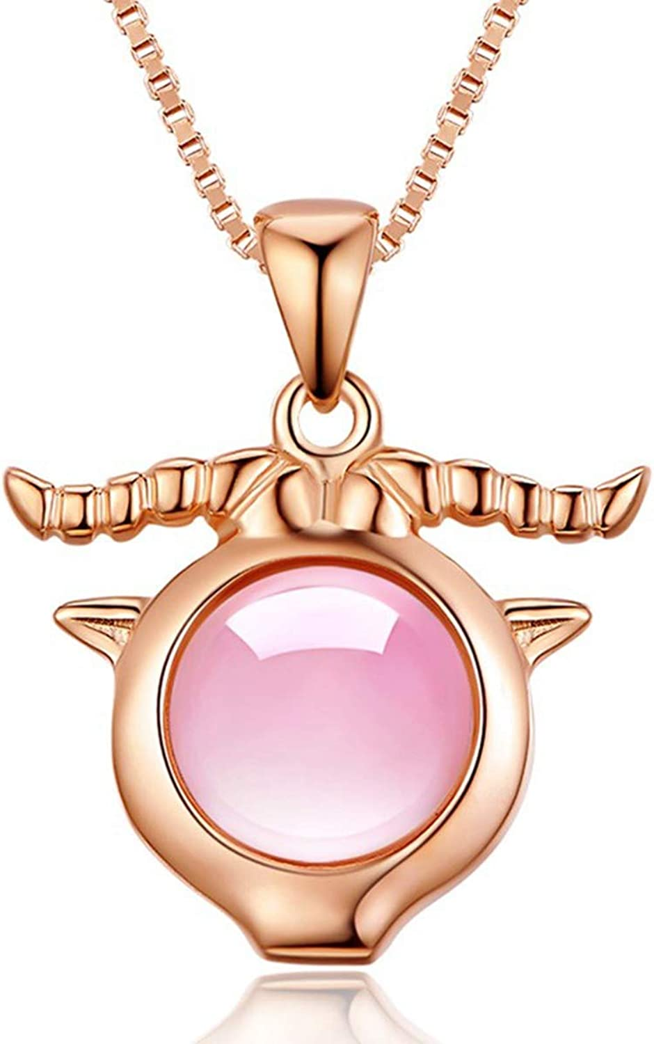 Liancie Pendant 925 Silver Necklace Female Clavicle 12 Constellation Furong Stone pink gold Pendant Pink Crystal Accessories Capricorn