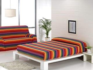 Energy Colors Textil Hogar - Bahia - Colcha Multiusos Cama Sofá Plaid Fabricado España (Rayas Multicolor, 220_x_260_cm)