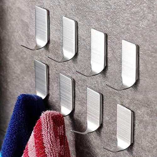 Ruicer Selbstklebend Kleiderhaken Handtuchhaken Wandhaken Ohne Bohren für Bad und Küche Gebürstetes Edelstahl 8 STÜCK,