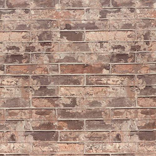 Tapeten Ziegelstein Klebefolie Selbstklebend Steintapete Wandtapete Steinoptik Backstein Fototapete 3D Wandaufkleber 0.61x5M Dekorfolie für Bar Restaurant Büro-Rot Ziegel