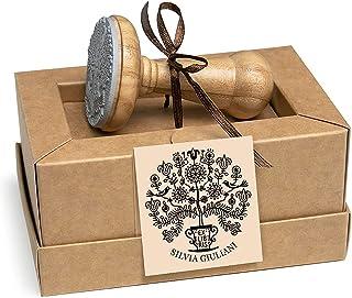 Timbri Personalizzati, Ex libris, Albero della Vita, Giglio Fiori Uccelli Canterini, Legno Rotondo 40mm, Scatole Regalo