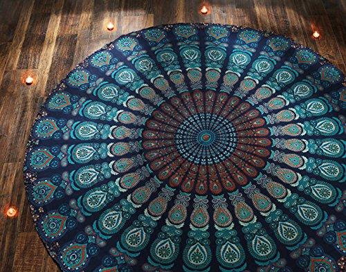 Toalla Playa Redonda Azul Estilo Mandala Indio Tapiz Hippie Mantel Redondo Algodón Yoga o Para Picnic - 182 cm