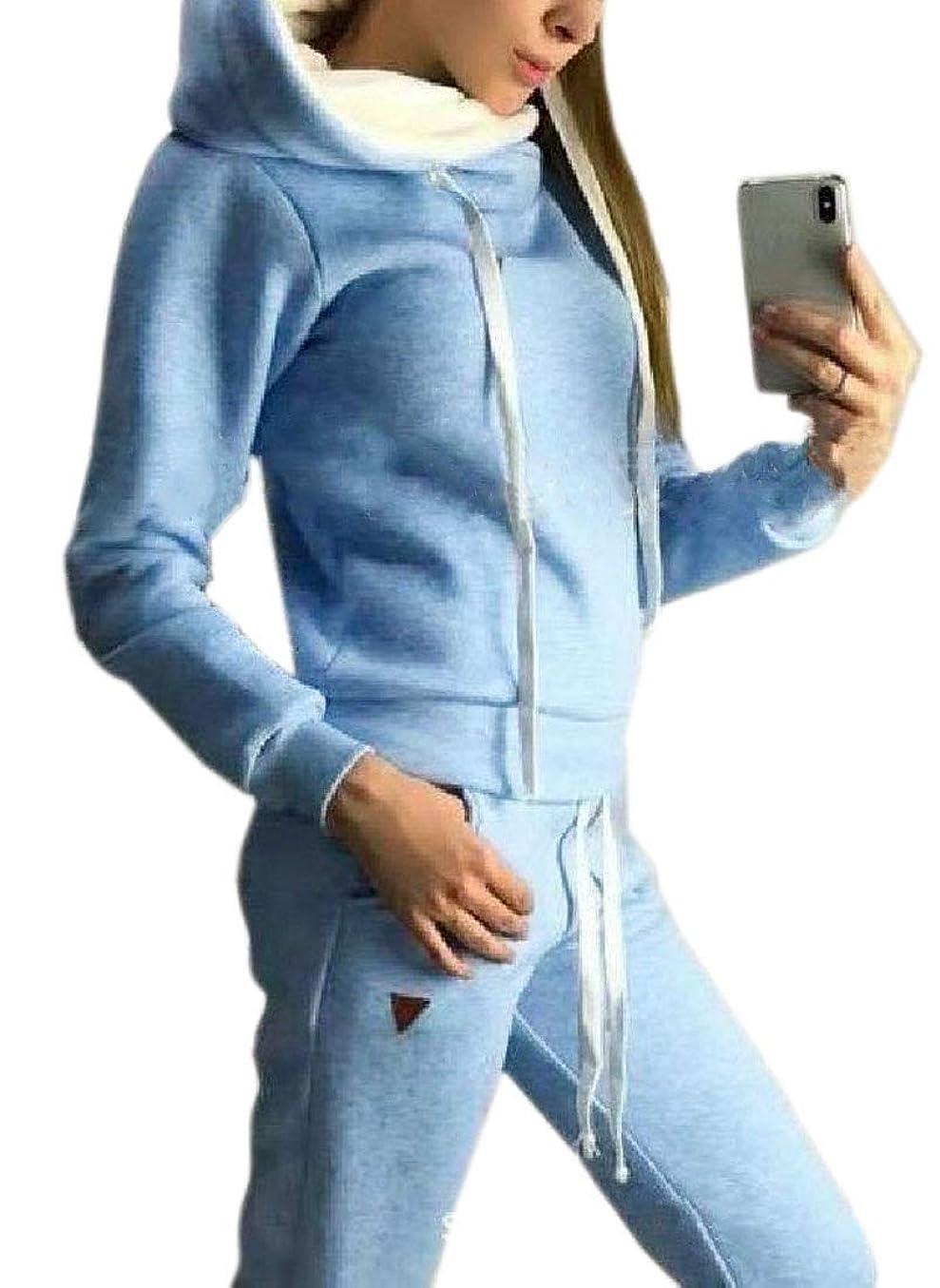 注目すべき生まれ欠員女性のフーディ秋冬ファッションプラスサイズジャケット&ロングパンツセット
