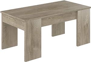 Movian,  tavolino da caffè sollevabile in stile moderno, modello Aggol, 50 x 100 x 44 cm,  Effetto Quercia