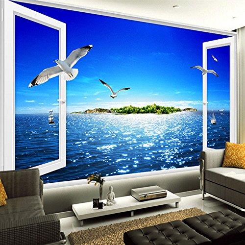 BAHUZHI Carta da Parati murale Photo Mural 3D Window Sea View Wall Painting Beach Island Seagulls Living Room Wallpaper 3D