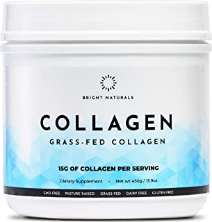 Bright Naturals: Collagen Powder - 15.9oz, 30 Servings - Grass-Fed Collagen Supplement - Joint, Bone, Skin and Nail Health...