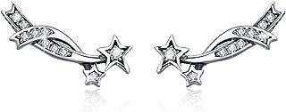 925 Sterling Silver Ear Crawler - Cuff Earrings Cubic Zirconia Ear Climber Earrings for Women Star Stud Earrings