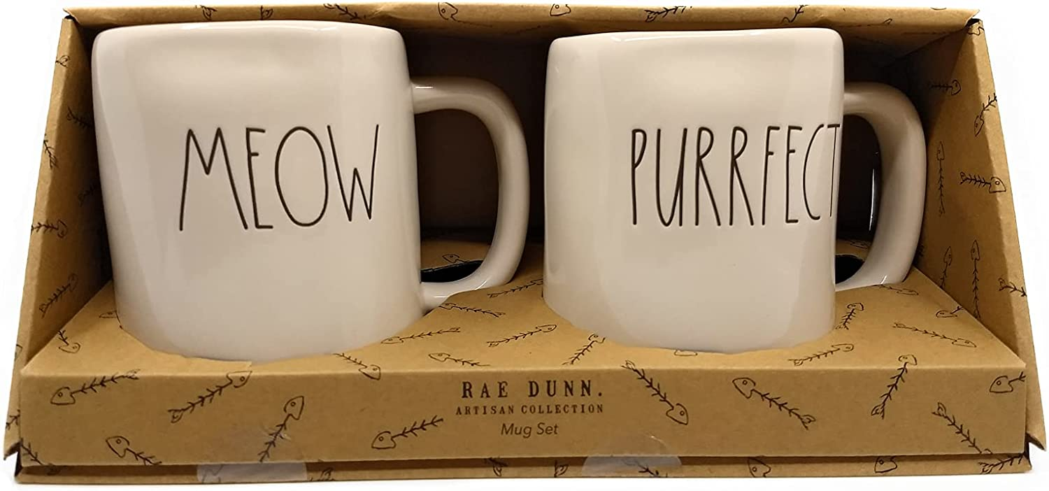 Rae Dunn Mug Set - MEOW Cheap mail order specialty store of Large PURRFECT Boxed New Free Shipping Letter