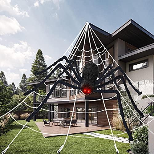 Halloween Decorazioni, 200cm Ragno di Halloween con Ragnatela Triangolare da 7x5m, Seta di Ragno e 10 Mini Ragno, Decorazione Spaventosa del Giardino di Halloween