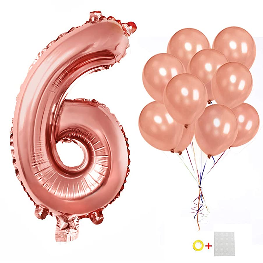 Number 6 Birthday Balloon 40Inch Rose Gold Helium Foil Party Balloons +10Pack 12inch Latex Balloons Rose Gold for Boys and Girls Anniversary Baby Holiday Party Decoration