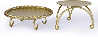 Dedoot Candle Holder, Gold Candle Holders Set of 2 Decorative Handmade Iron Pillar Plate Candle Holder Centerpiece Fit LED & Wax Candles, Pedestal Candle Stand for Wedding, Spa, Dinner Tables
