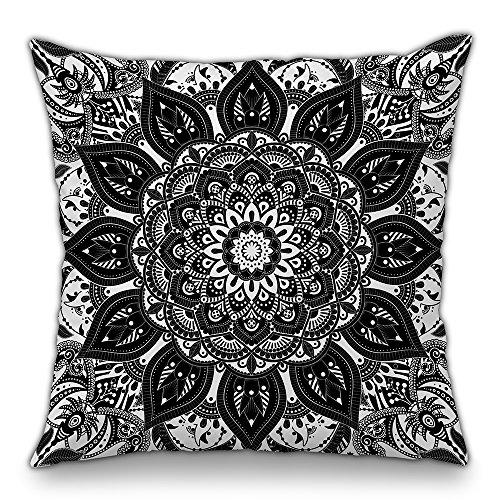 Moyun Schwarz & Weiß Mandala Serie Boho Hippie Indisch Dekorativ Kissenbezüge Blumen Kissenbezug Sofa Stuhl Dekor 45 x 45 cm