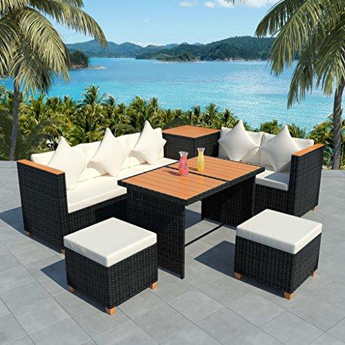 Namotu vidaXL 7-TLG. Conjunto de salón de jardín con Cojines de poliratán, Color Negro.