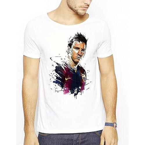 1f6e68c16 642 Stitches Men s Lionel Messi Paint Art FC Barcelona Football Round Neck T -Shirt