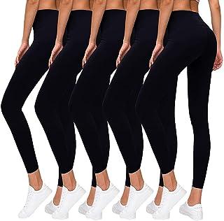 High Waisted Leggings for Women Yoga Tummy Control Workout Leggings Pack Soft Running Exercise Spandex Black Pants