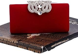 Redland Art Women's Fashion Sparkly Velvet Clutch Bag Wristlet Evening Handbag Catching Purse Bag for Wedding Party (Color : Red)