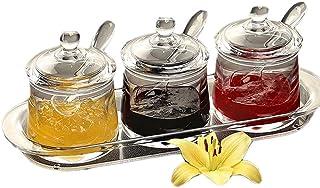 FOLOBE Premium Quality Clear Acrylique Ensemble de Condiments Boîte à épices avec Cuillère assaisonnement sel Poivre Boîte...