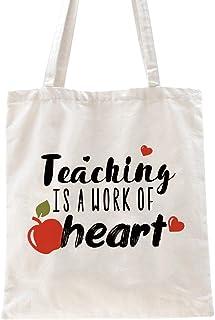 Ihopes Teacher Appreciation Gifts Teaching Reusable Tote Bag   Teaching is a Work of Heart Tote Bag Teachers Men Women