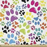 ABAKUHAUS Perro Tela por Metro, Las huellas de la pata de perro de dibujos animados, Tela Elastizada Estampada para Costura Arte y Bricolaje, 1 Metro, Púrpura Azul Verde