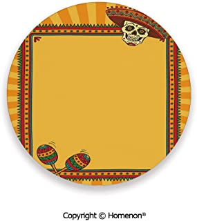 Frame Pattern with Skull Sombrero and Maracas Mexican Elements Geometric,Hot Sale Coasters Protection From Drink Marigold Red Green,3.9×0.2inches(6PCS),Protect Furniture From Coffee Or Tea