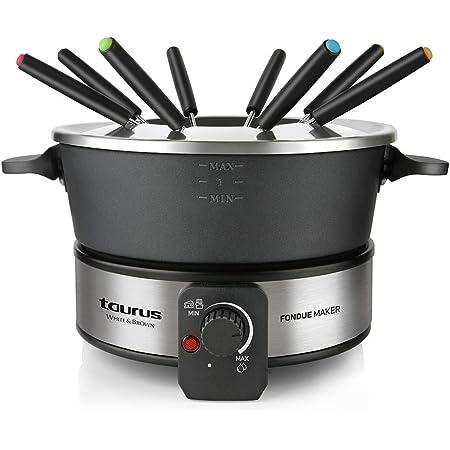 Taurus FF2 - Appareil à Fondue 1000W, Capacité de 2L, 8 personnes, Température régable, Tous types de fondues, Sans PFOA