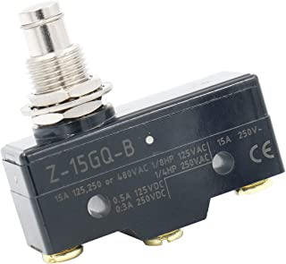 Baomain Z-15GQ-B General Purpose Basic Switch, Panel Mount Plunger, Medium OP, Screw Terminal, 0.5mm Contact Gap, 15A Rated Current
