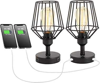 ZZ Joakoah USB Table Lamp, Metal Rustic Desk Lamps with 2 Useful USB Charging Ports, Bedside Nightstand Lamp, E26 Edison Read