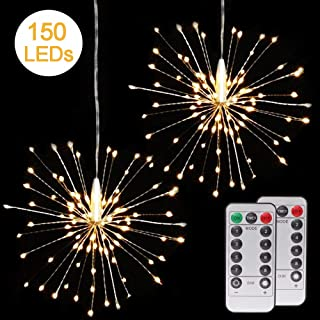2 Pack Fairy String Lights, 150 LED Bouquet Shape Fireworks Decorative Lights, Twinkle Starburst Lights, Battery Operated Copper String Lights with Remote Control for Home, Outdoor, Party, Festival