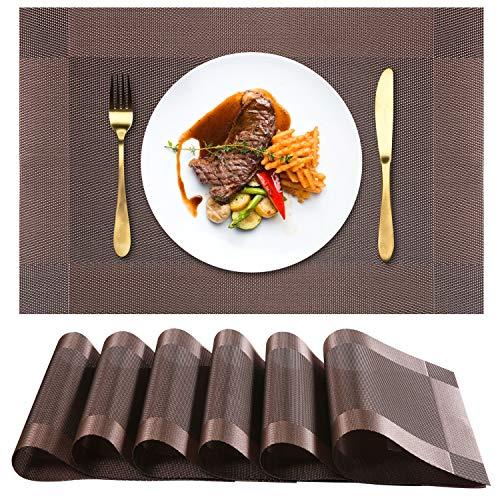 Chefic Platzsets 6er Set, Elegante PVC Tischsets Abwischbar 45x30cm rutschfest Platzdeckchen, Premium Hitzebeständig und Abgrifffeste Tischmatte Abwaschbar für Küche Speisetisch - Braun